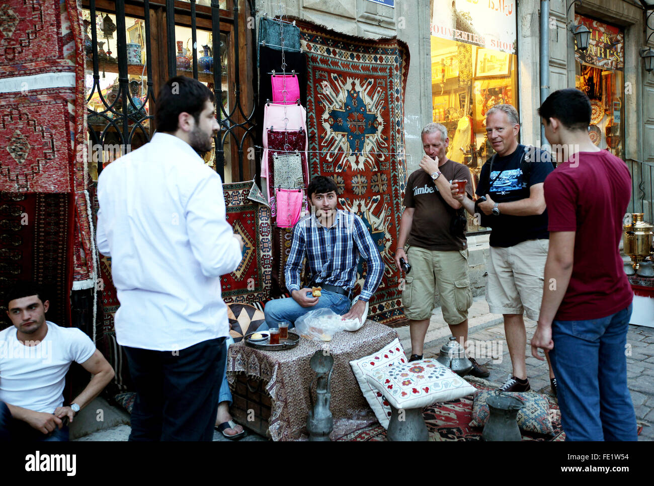 Carpet shop in the city of Baku, Azerbaijan - Stock Image