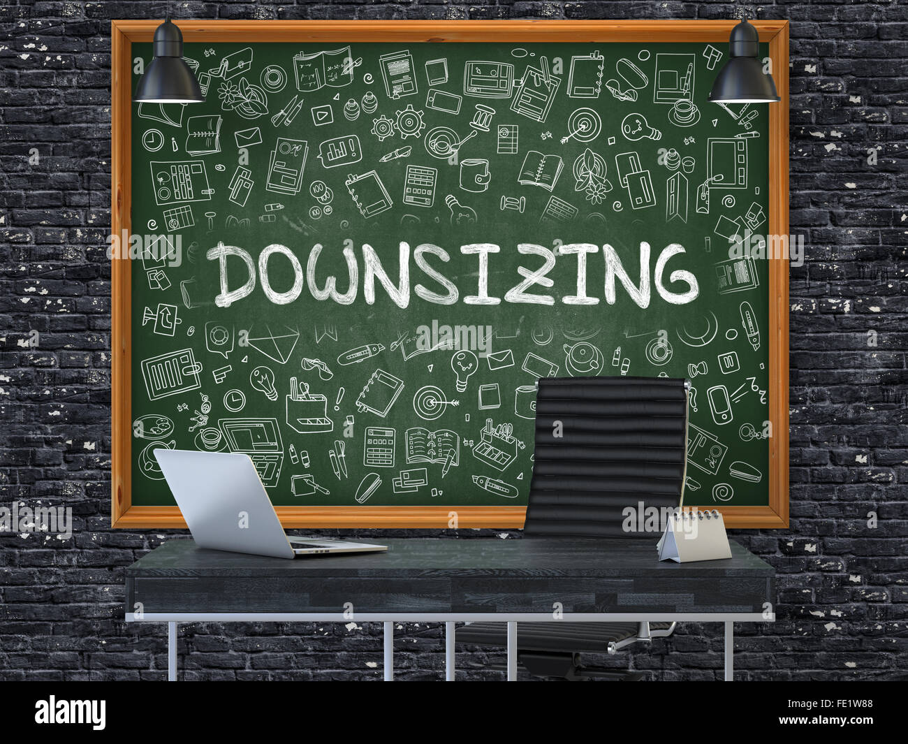 Downsizing on Chalkboard in the Office. - Stock Image