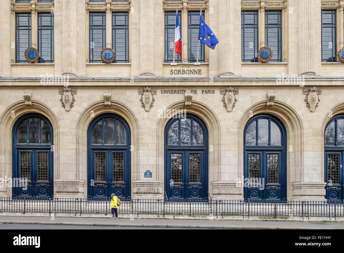 Main entrance Paris Sorbonne University, Paris IV, Université Paris Sorbonne, public research university in - Stock Image