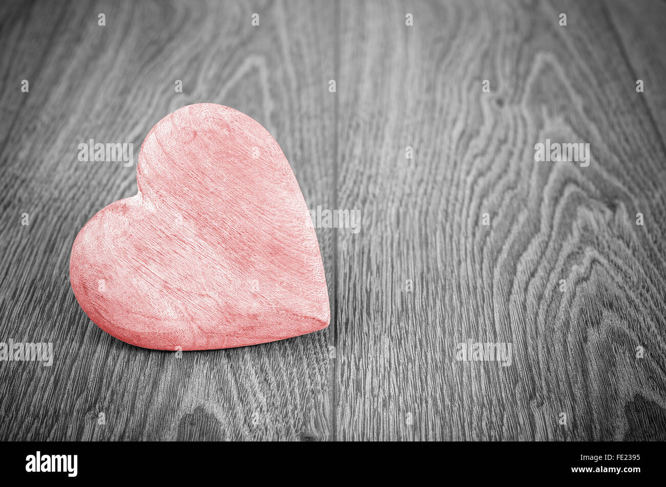Red heart on black and white background, space for text. - Stock Image