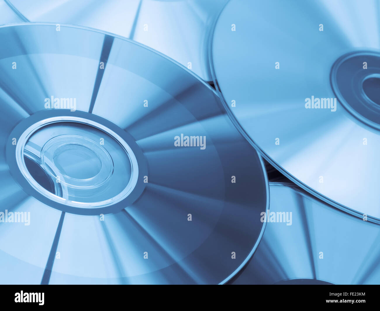 Compact Discs with Blue Toning - Stock Image