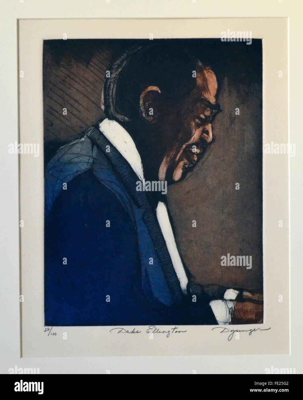 Big-Band era jazzman Duke Ellington has been preserved as a part of America's musical history with this profile - Stock Image