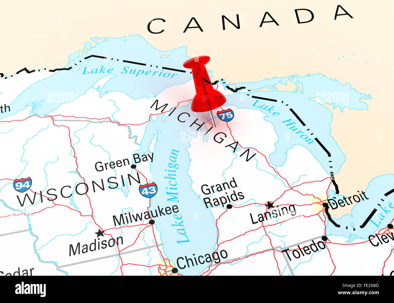 Red Thumbtack Over Michigan State USA Map. 3D rendering Stock Photo ...
