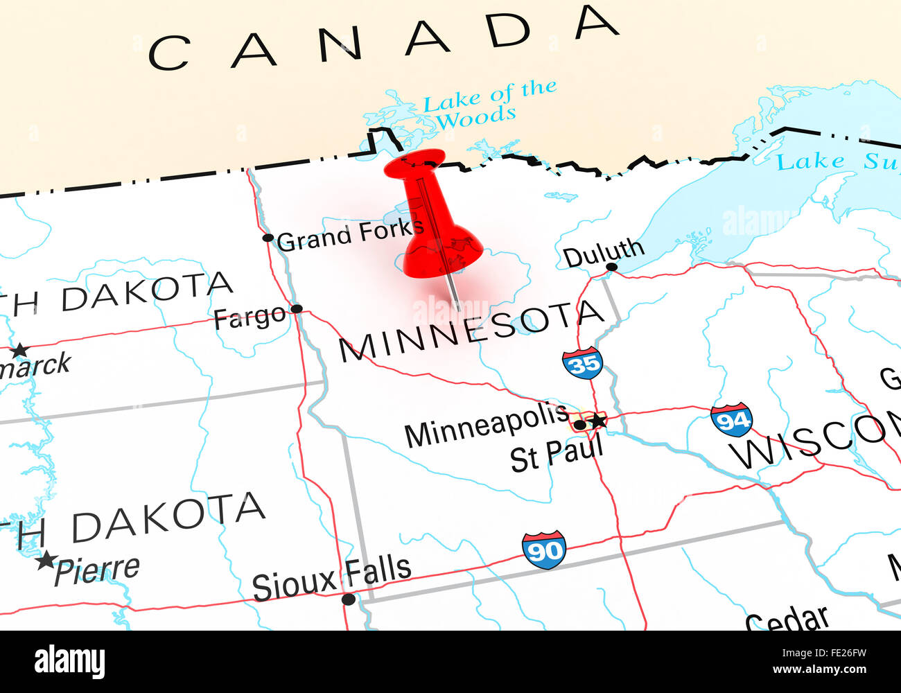 Red Thumbtack Over Minnesota State USA Map. 3D rendering Stock Photo ...
