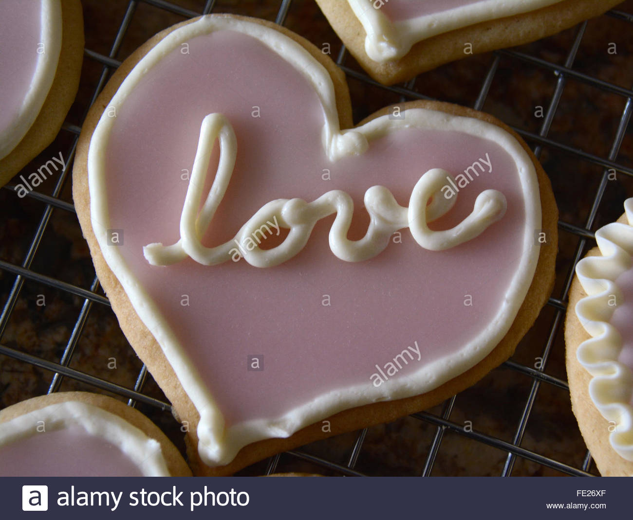 Valentine Love Sugar Cookie - Stock Image