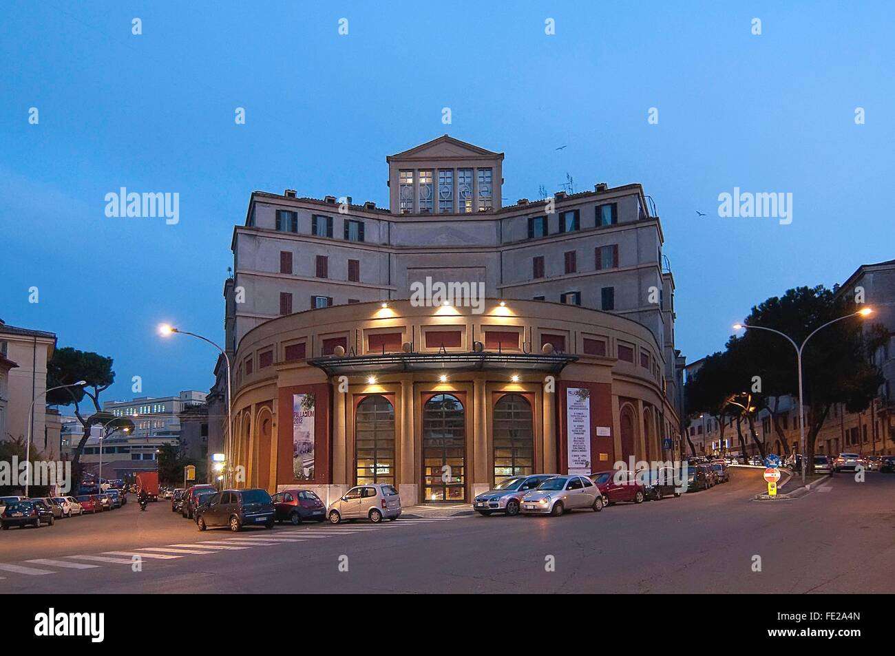 The Palladium building in Garbatella district, Rome, Italy    Credit © Fabio Mazzarella/Sintesi/Alamy Stock - Stock Image