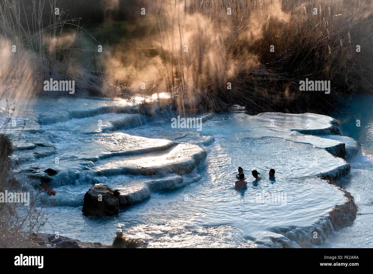 Saturnia thermal baths at dawn,  Saturnia, Grosseto province, Tuscany, Italy    Credit © Silvio Mencarelli/Sintesi/Alamy - Stock Image