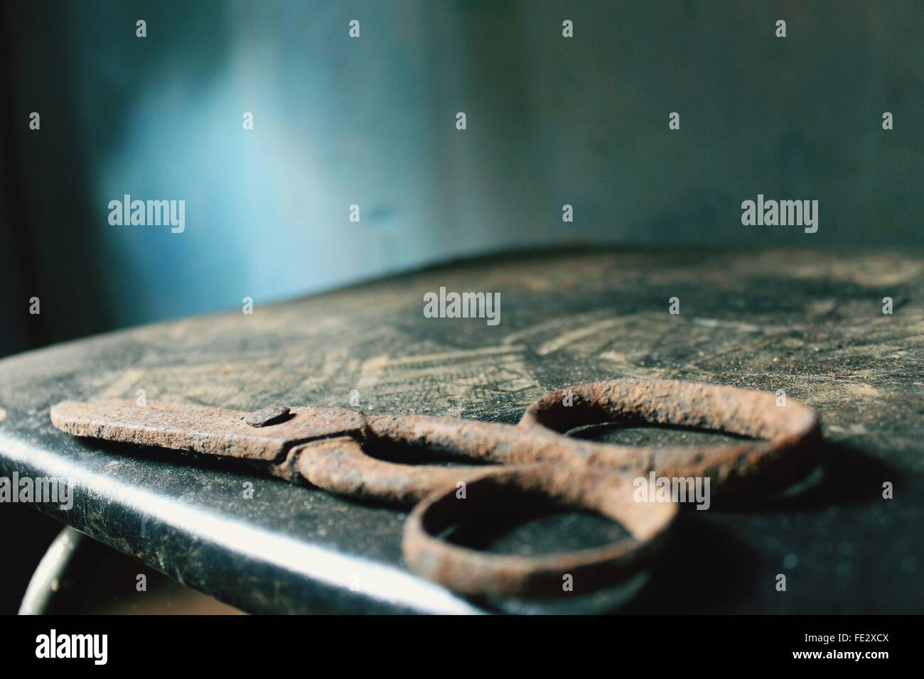 View Of Rusty Scissors - Stock Image