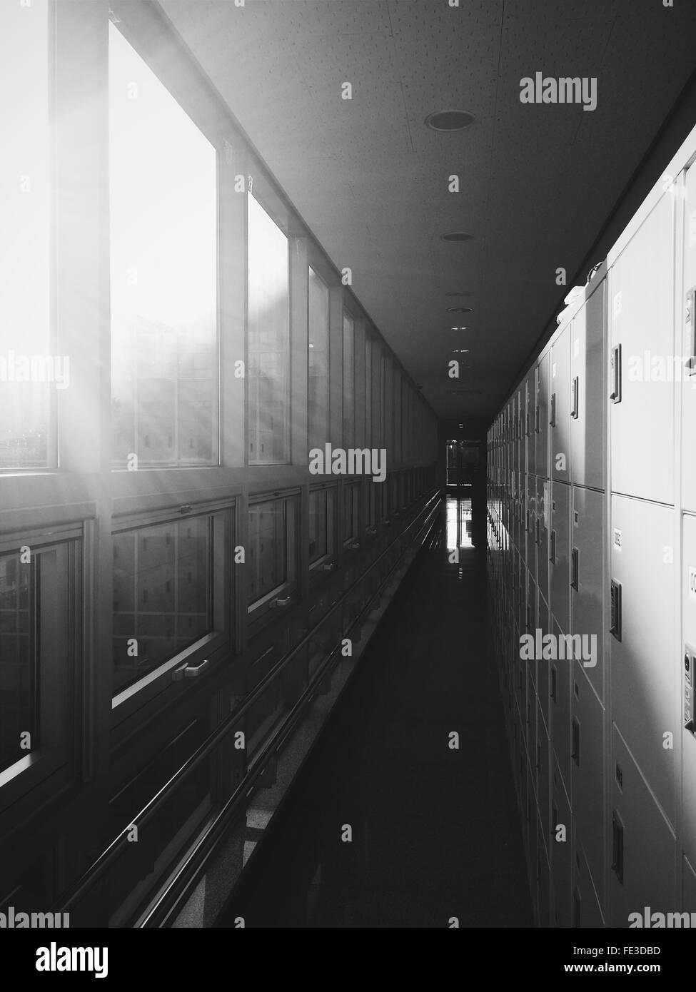 Sunlight Falling Through Windows In Building - Stock Image