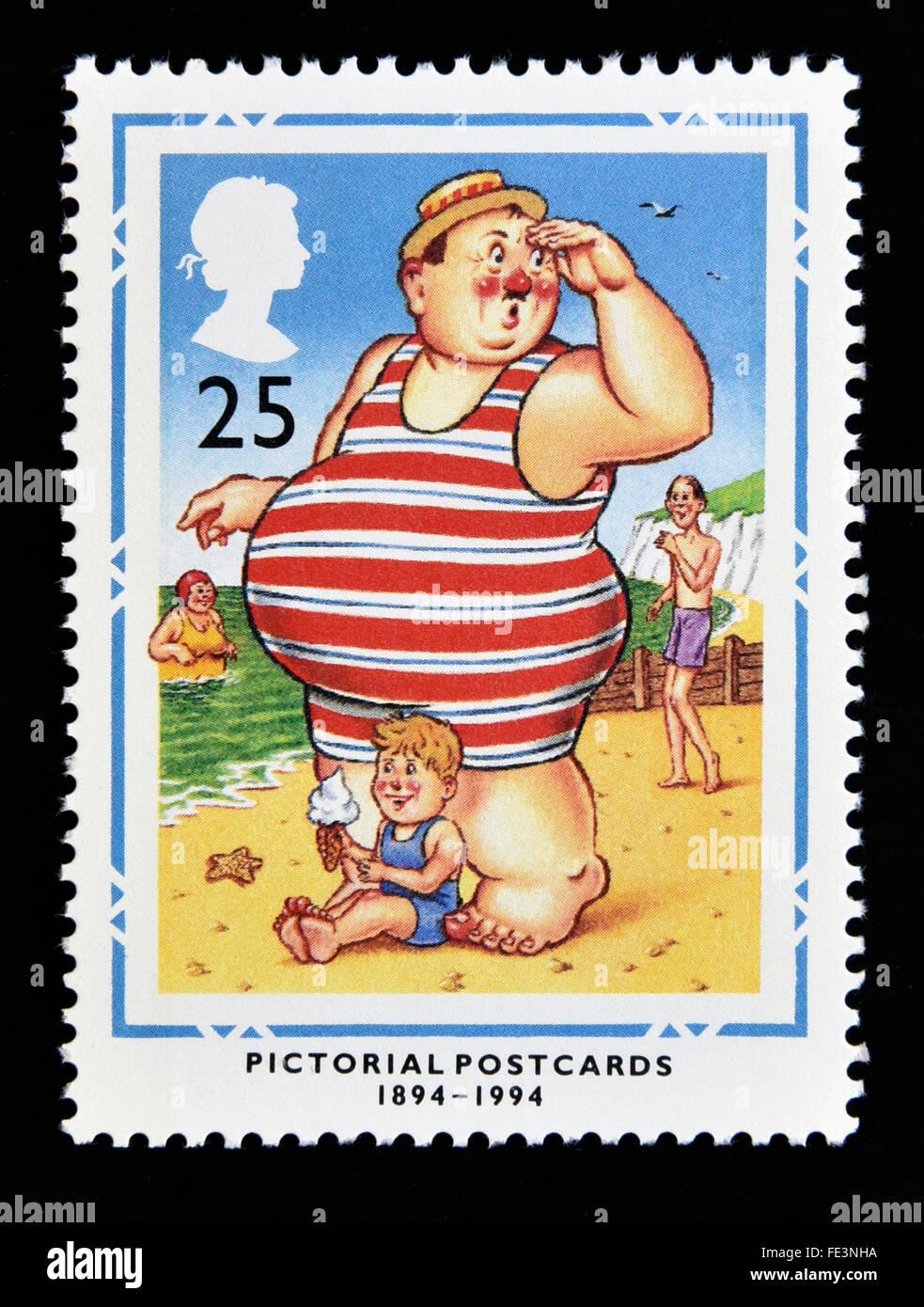 Postage stamp. Great Britain. Queen Elizabeth II. 1994. Centenary of Pictorial Postcards. 1894-1994. 25p. - Stock Image