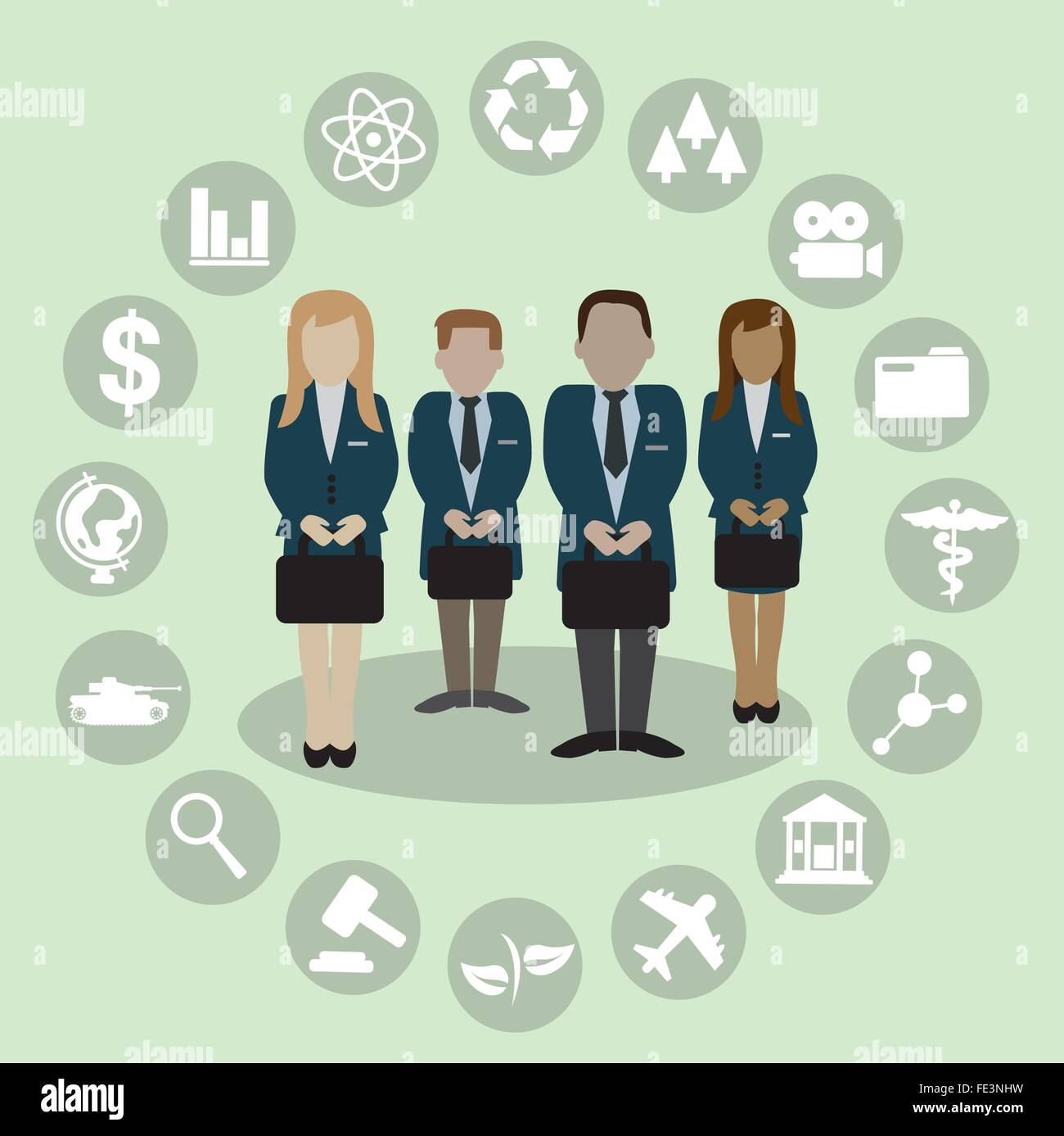 Human Resources with professional occupation - Stock Vector