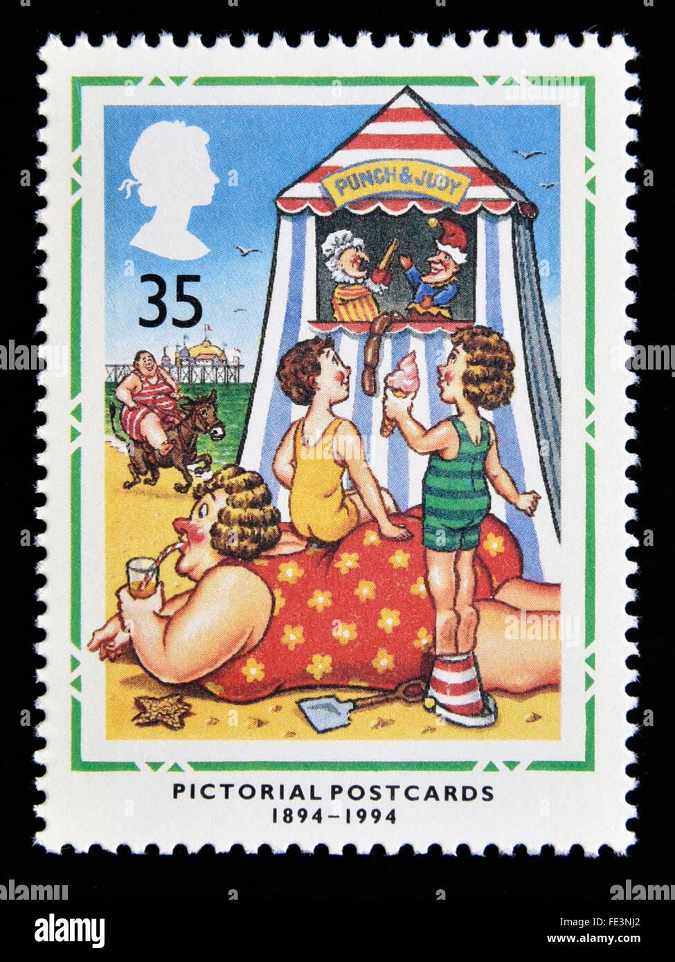 Postage stamp. Great Britain. Queen Elizabeth II. 1994. Centenary of Pictorial Postcards. 1894-1994. 35p. - Stock Image