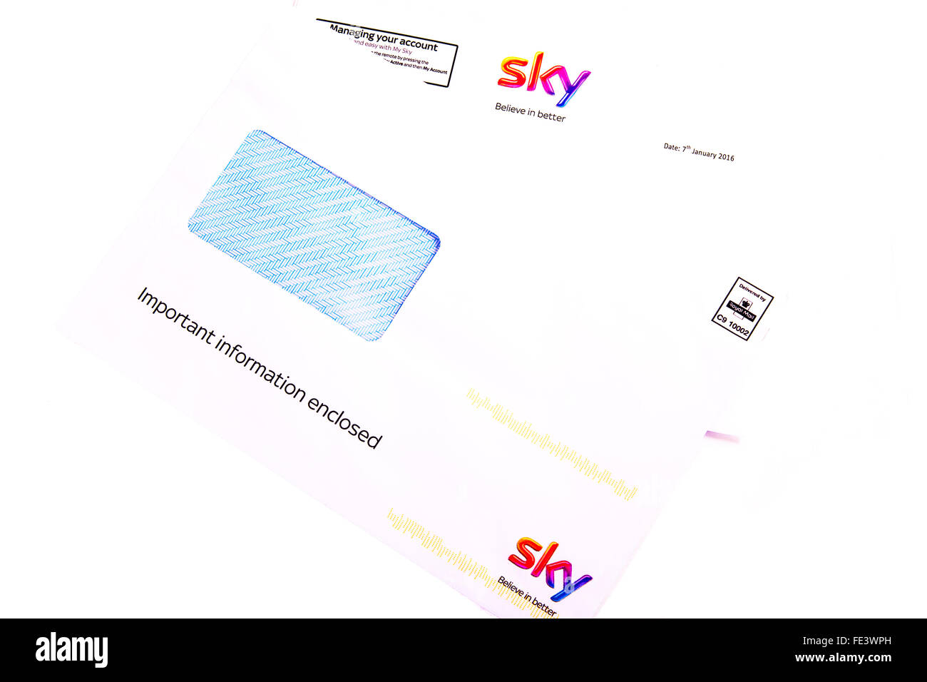 Sky TV letter managing your account important information enclosed cut out cutout white background isolated - Stock Image
