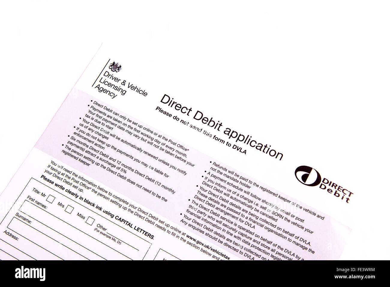 Direct debit application form DVLA Driver & Vehicle Licensing agency cut out cutout white background isolated - Stock Image