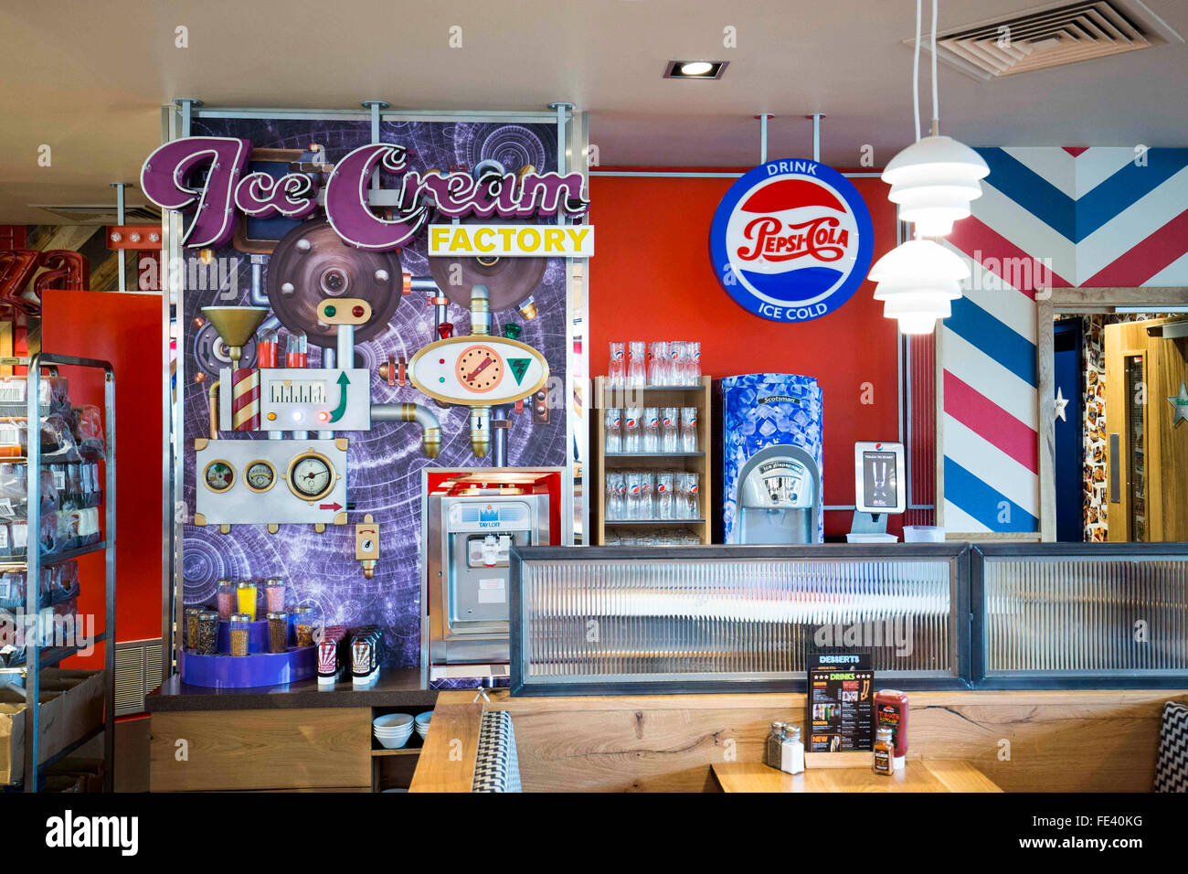 American Style Diner Display In A Pizza Hut Restaurant Stock