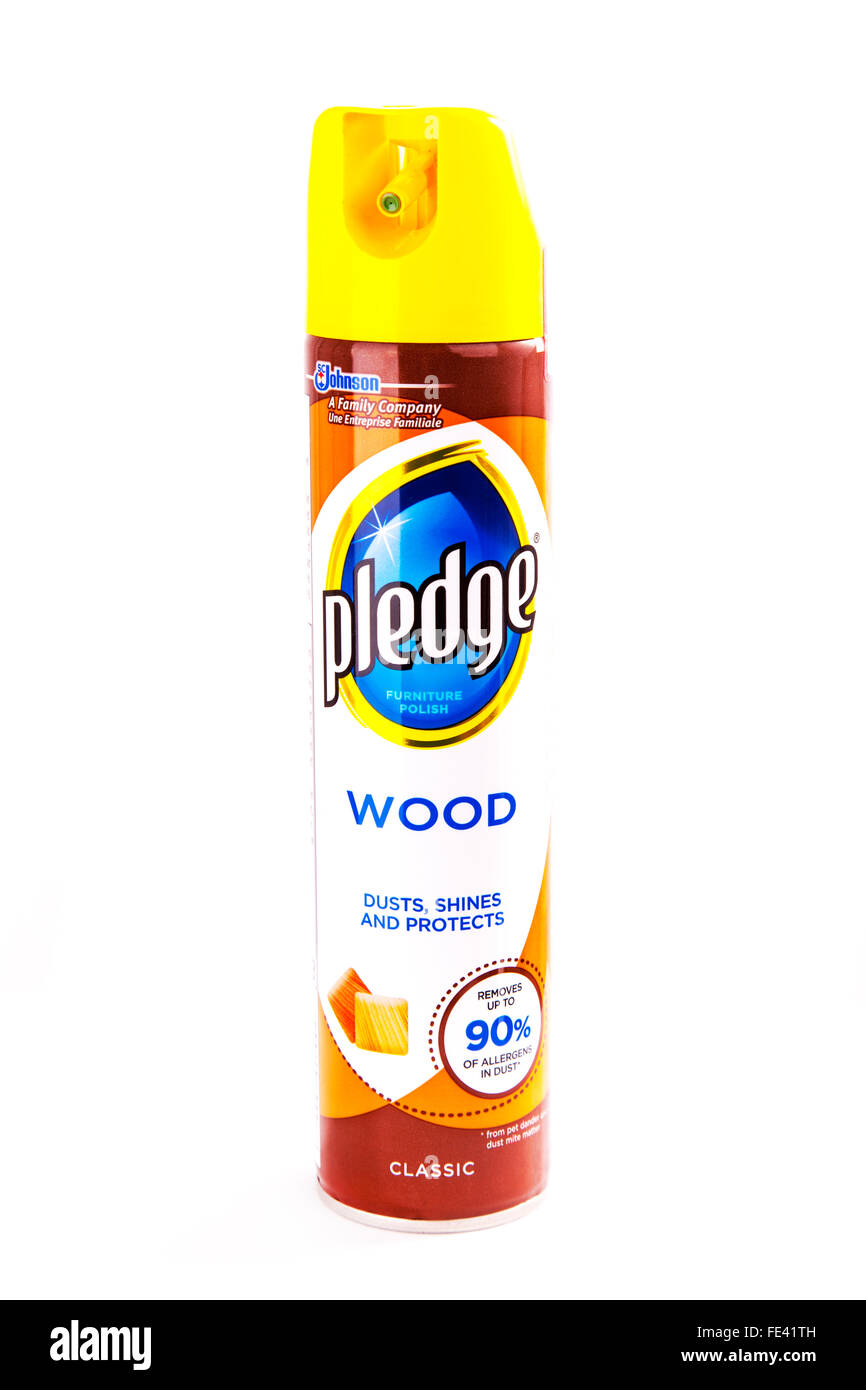 Pledge furniture wood polish tin tinned can canned aerosol cut out cutout white background isolated - Stock Image