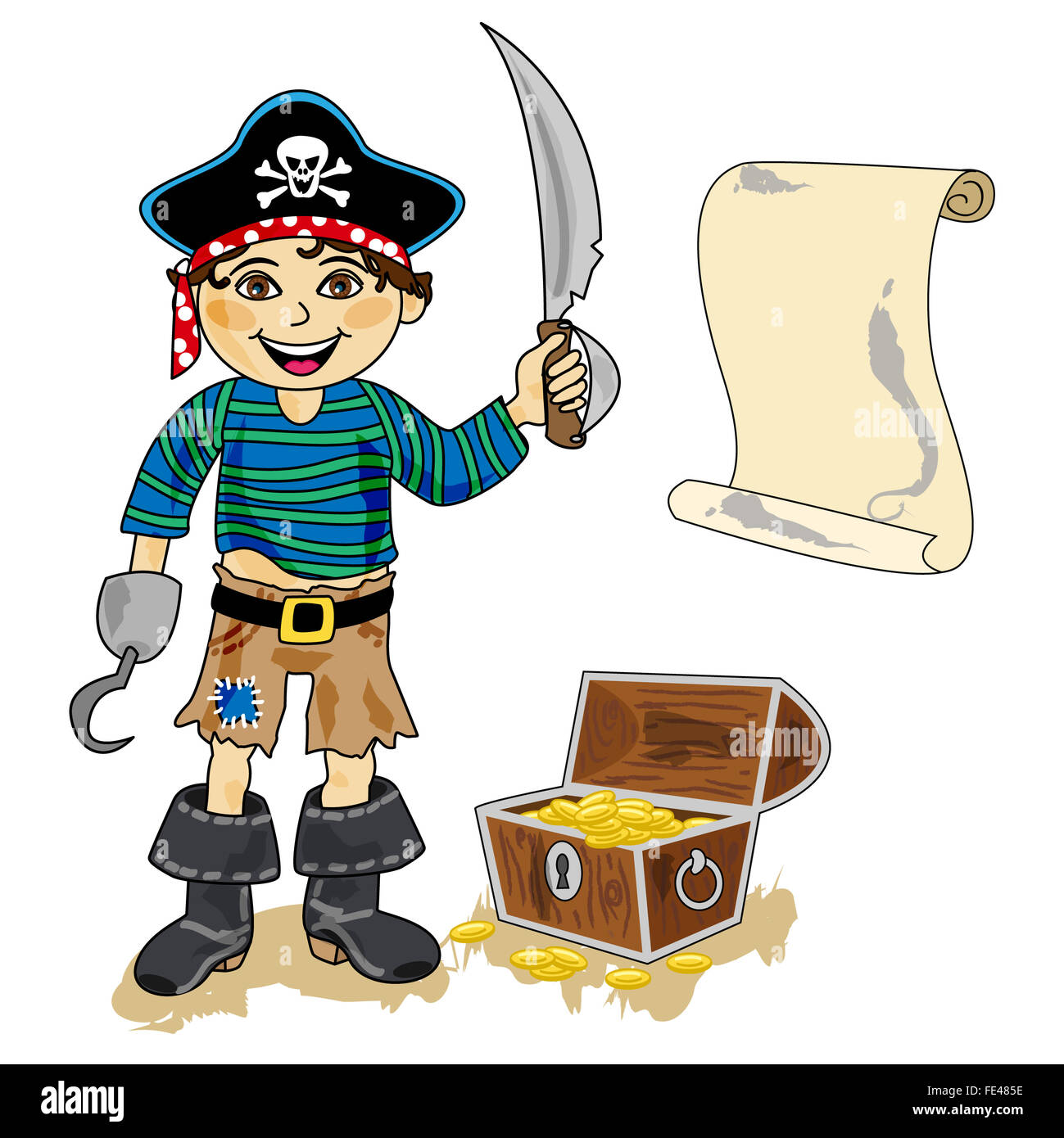 Treasure Toys Cartoon : Cute cartoon pirate character with hook sword map and