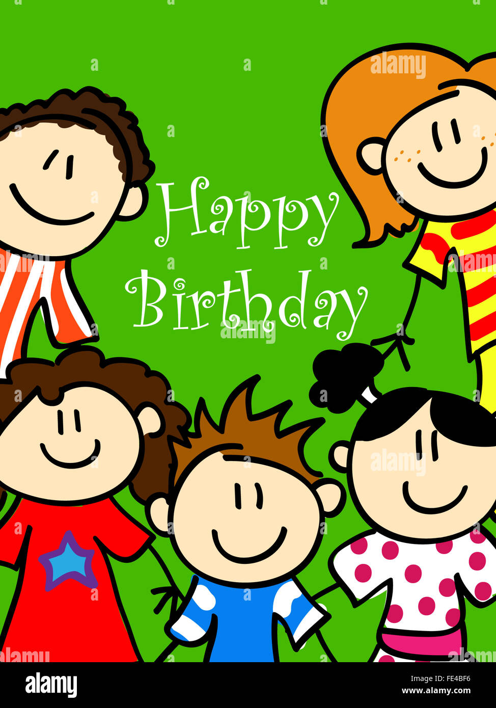 Birthday Card With Cute Kid Cartoon Characters Looking At You