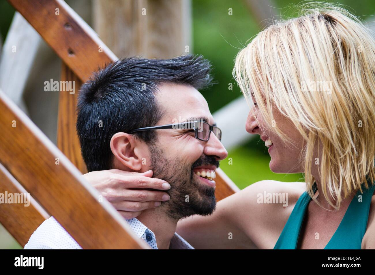Close-Up Of A Couple Romancing - Stock Image