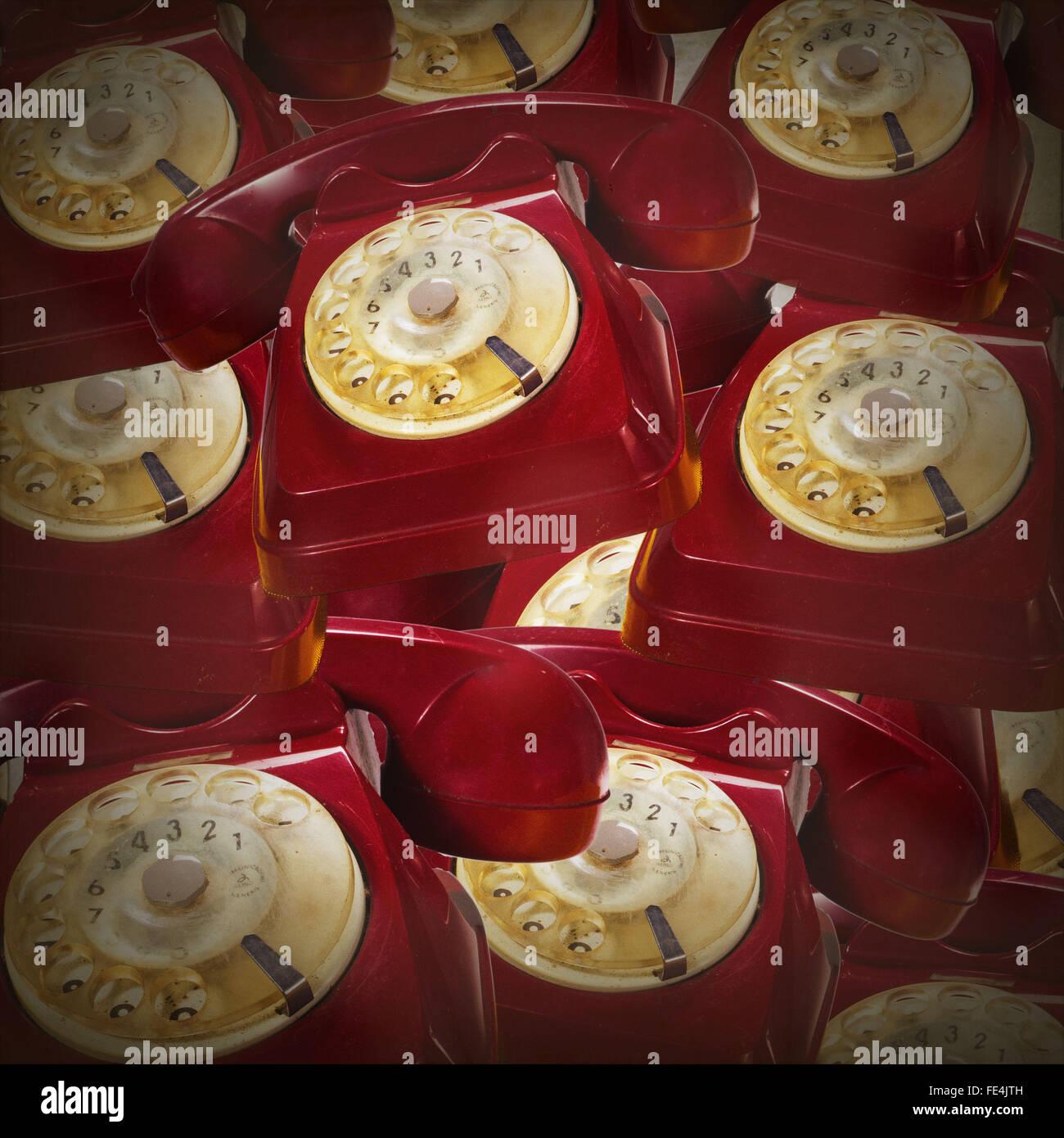 Full Frame Shot Of Red Rotary Phones - Stock Image