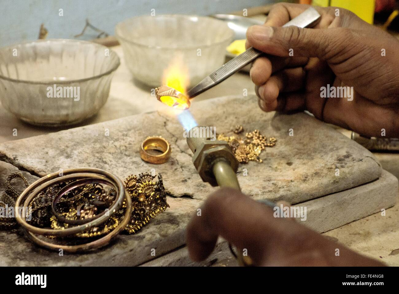 Goldsmith Working With A Unfinished Ring - Stock Image