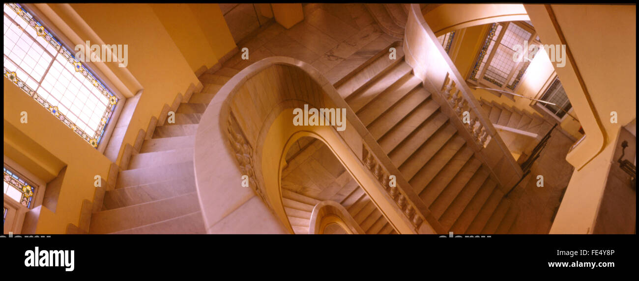 High Angle View Of Stairs And Hand Rails - Stock Image