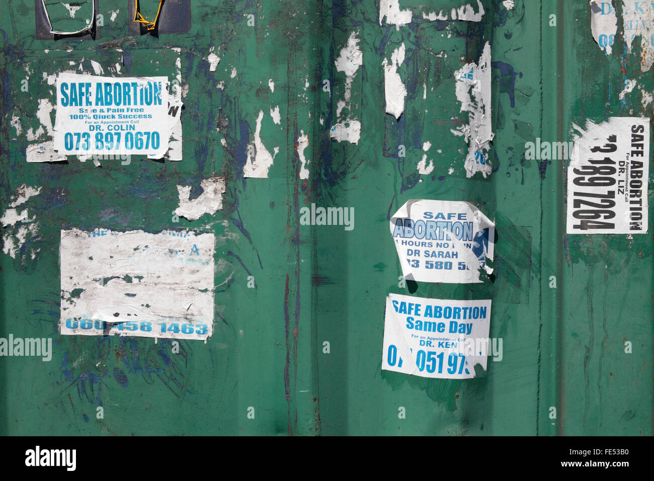 Abortion Adverts, Cape Town, South Africa - Stock Image