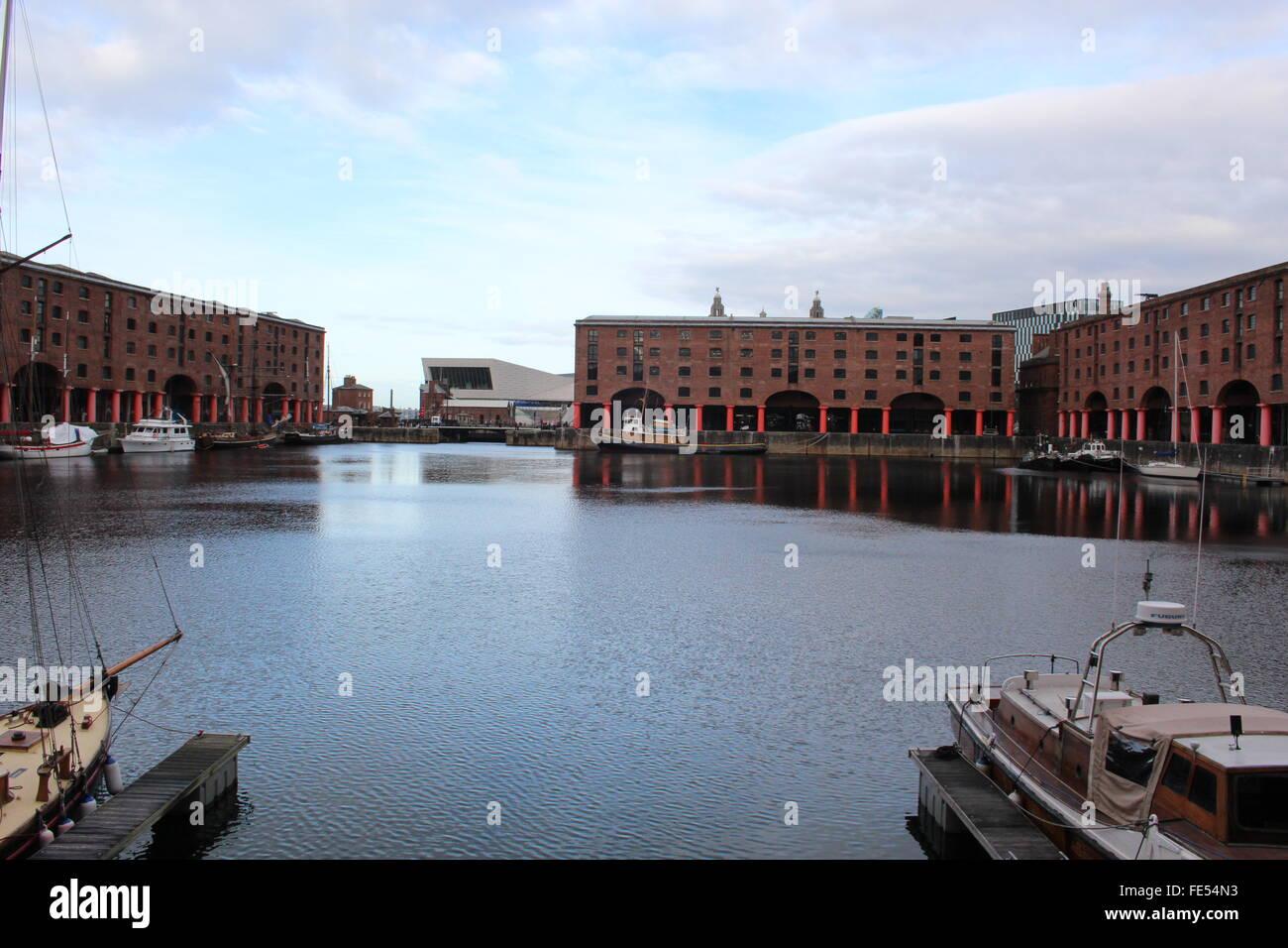 Liverpool Albert docks red bricks port water wood boats submarine Ballards marina - Stock Image