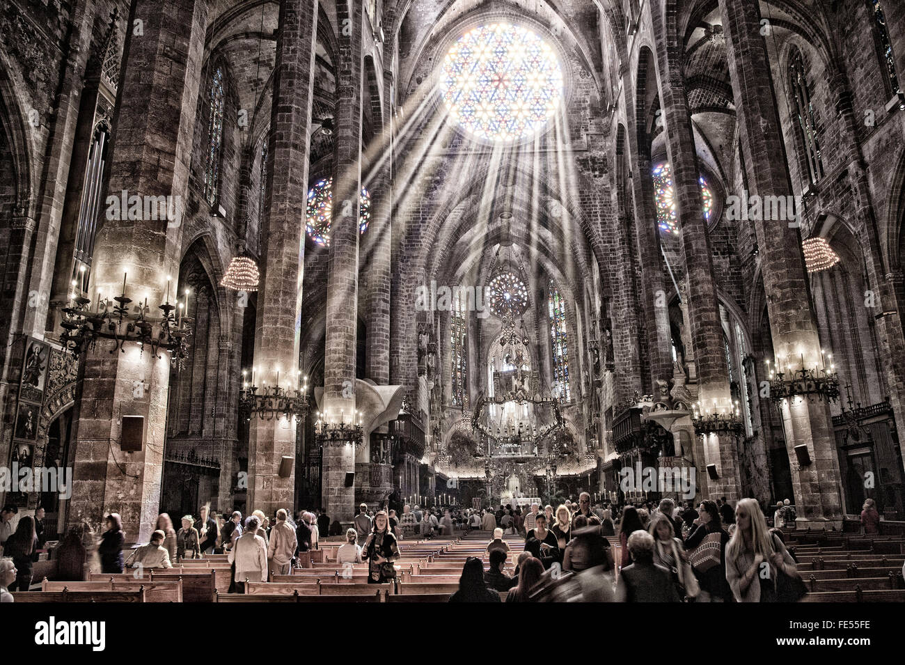 Europe, Spain, Balearic Islands, Majorca, Palma, Cathedral, La Seo Catedral. Cathedral. - Stock Image