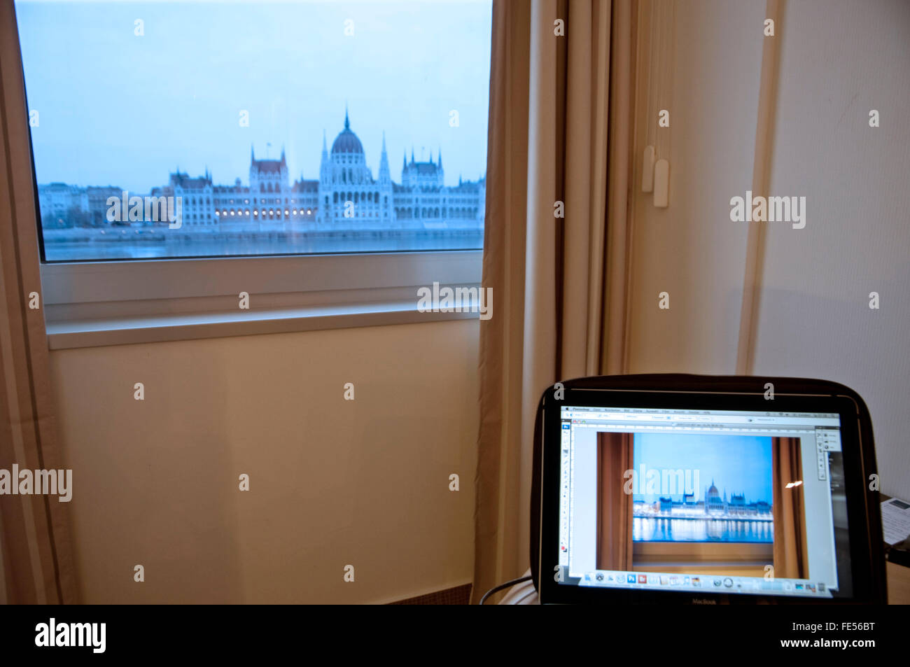 Europe, Hungary, Budapest, View from Novotel Danube, to the Parliament Building. - Stock Image