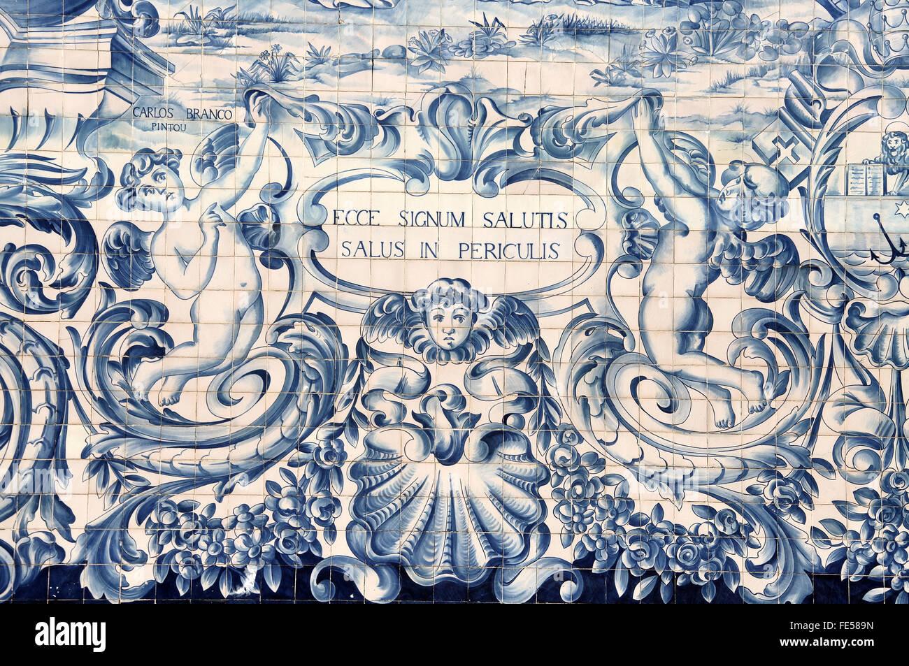 Antique azulejos on the Capela da Almas in Porto - Stock Image