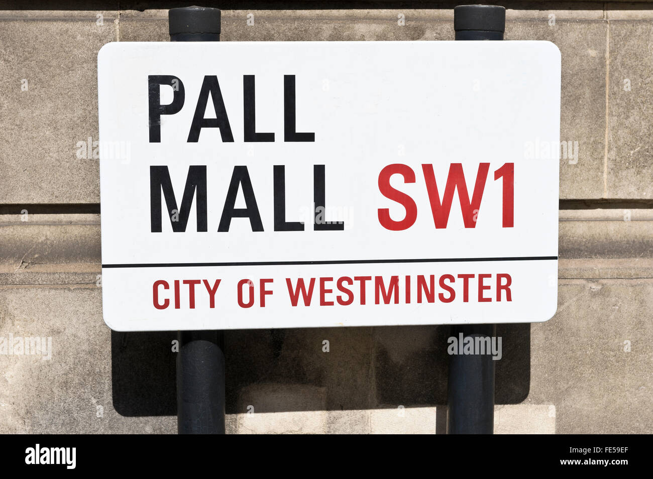 Pall Mall road sign on the side of the road, London, United Kingdom. - Stock Image