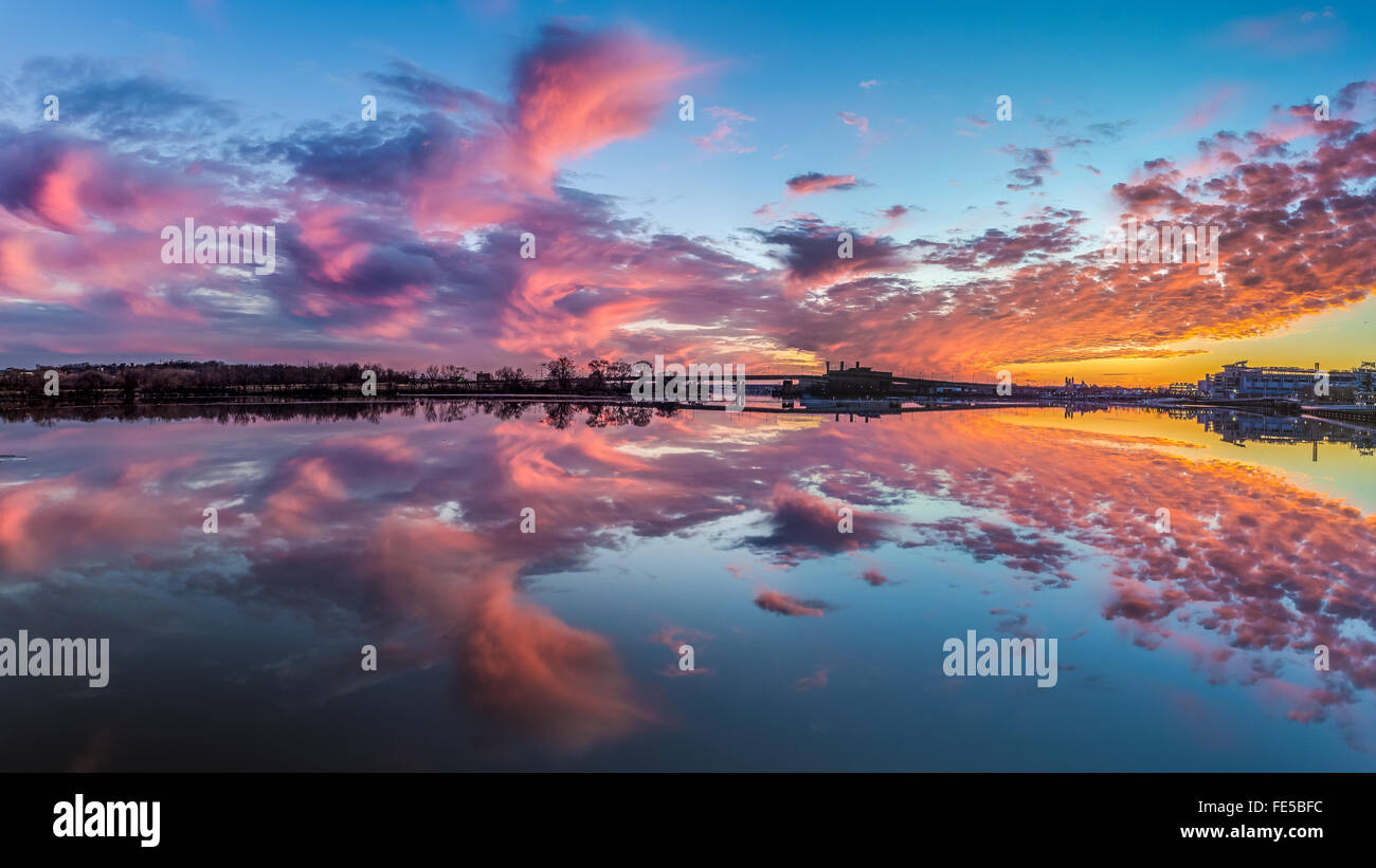 Sunset over the Anacostia River viewed from Yards Park. Stock Photo