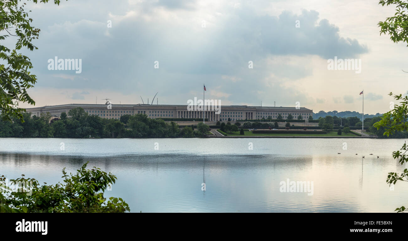 The Pentagon viewed from across the Pentagon Lagoon Yacht Basin - Stock Image