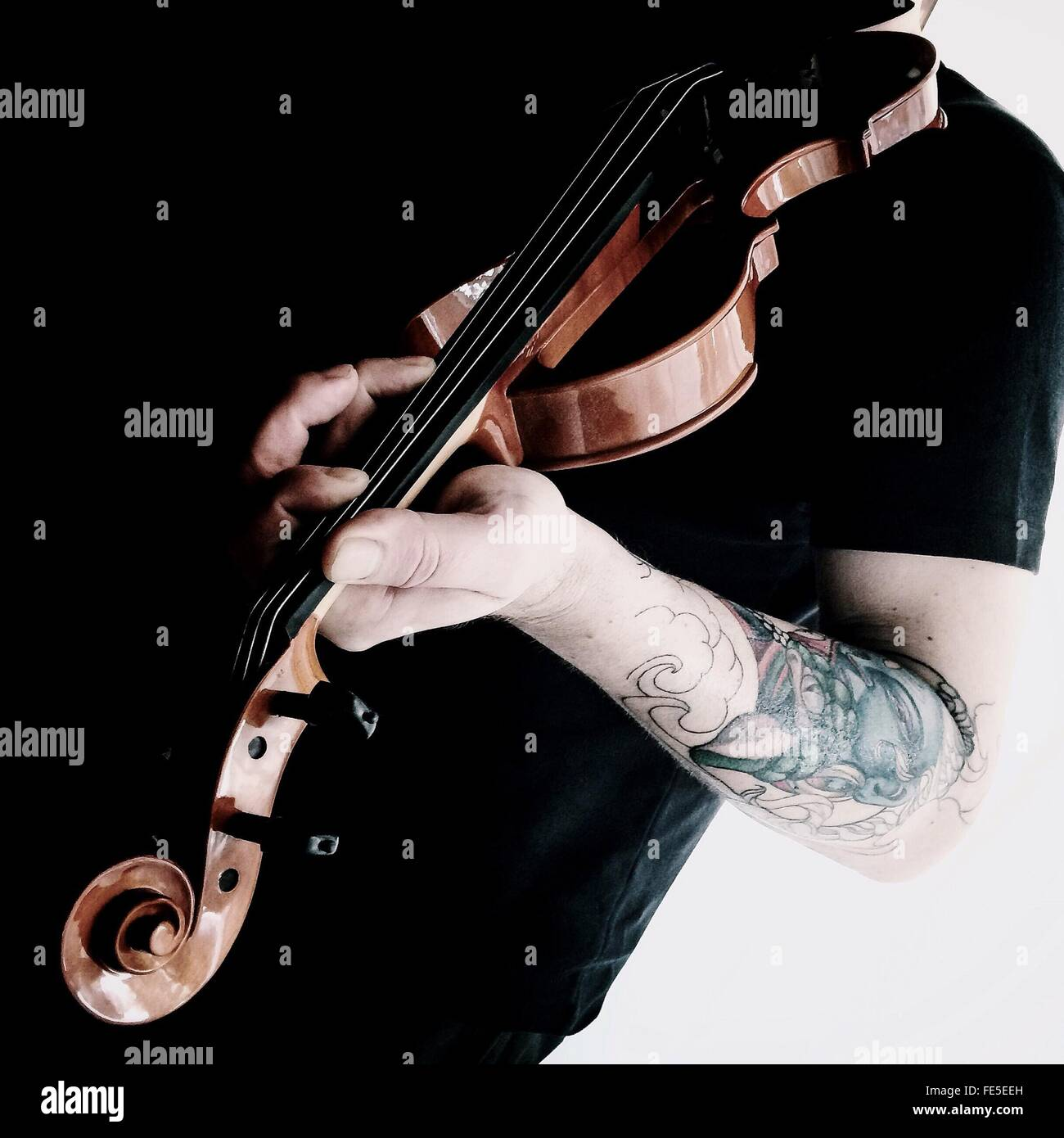 Male Violinist Playing Violin - Stock Image