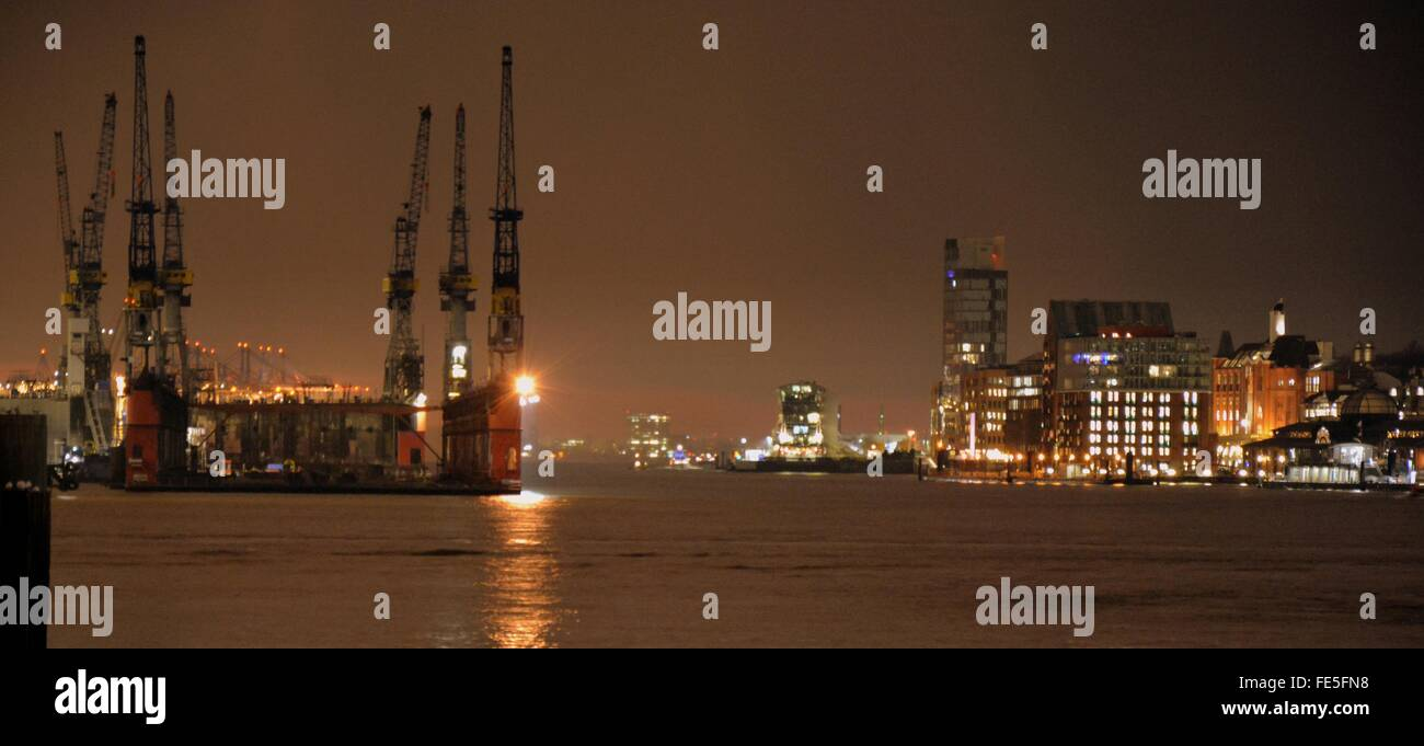 Commercial Dock In Night - Stock Image