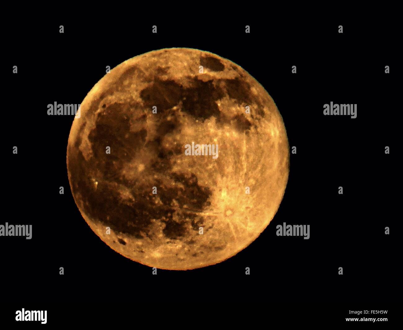 Full Moon In Black Sky - Stock Image