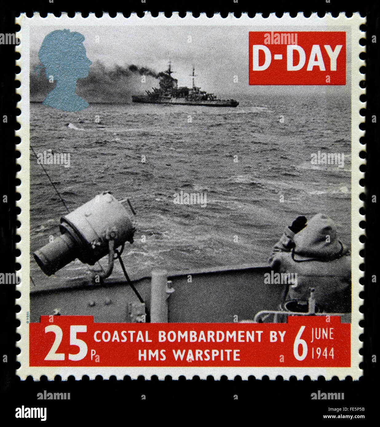Postage stamp. Great Britain. Queen Elizabeth II. 1994. 50th. Anniversary of D-Day. 6th.June 1944. 25p. Stock Photo