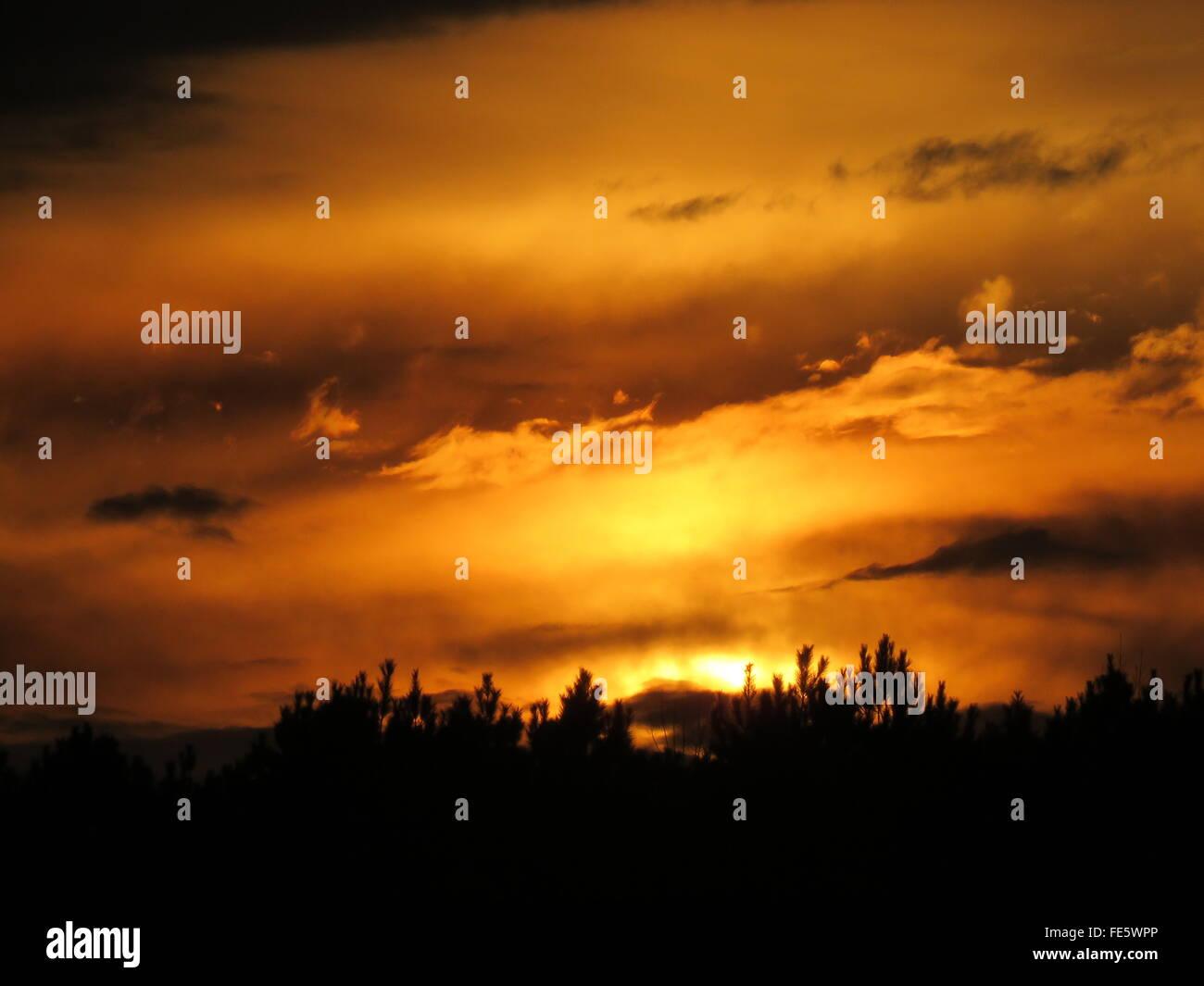 Idyllic View Of Dramatic Sky During Sunset - Stock Image