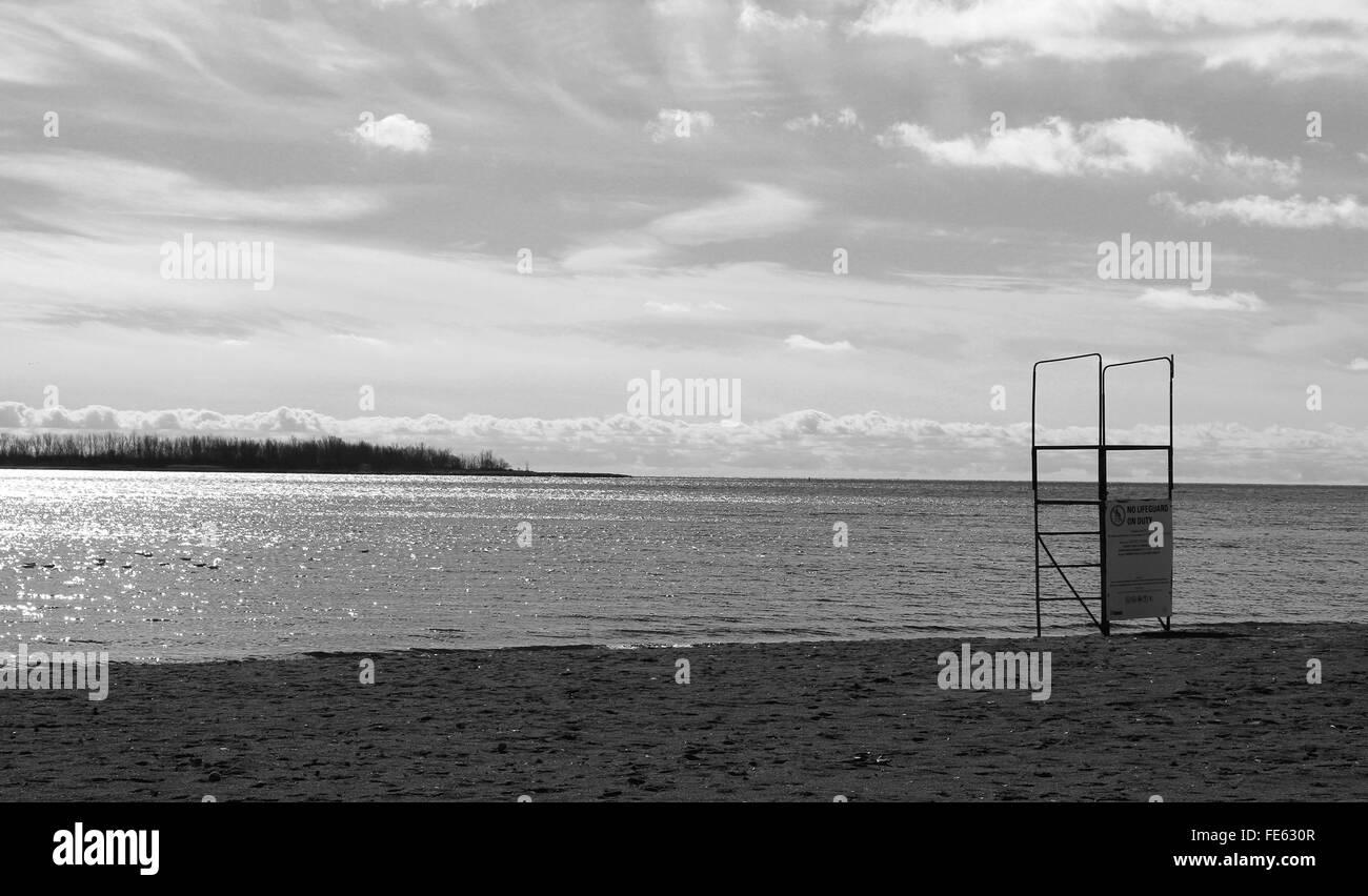 Deserted beach on the Lake Ontario - Stock Image
