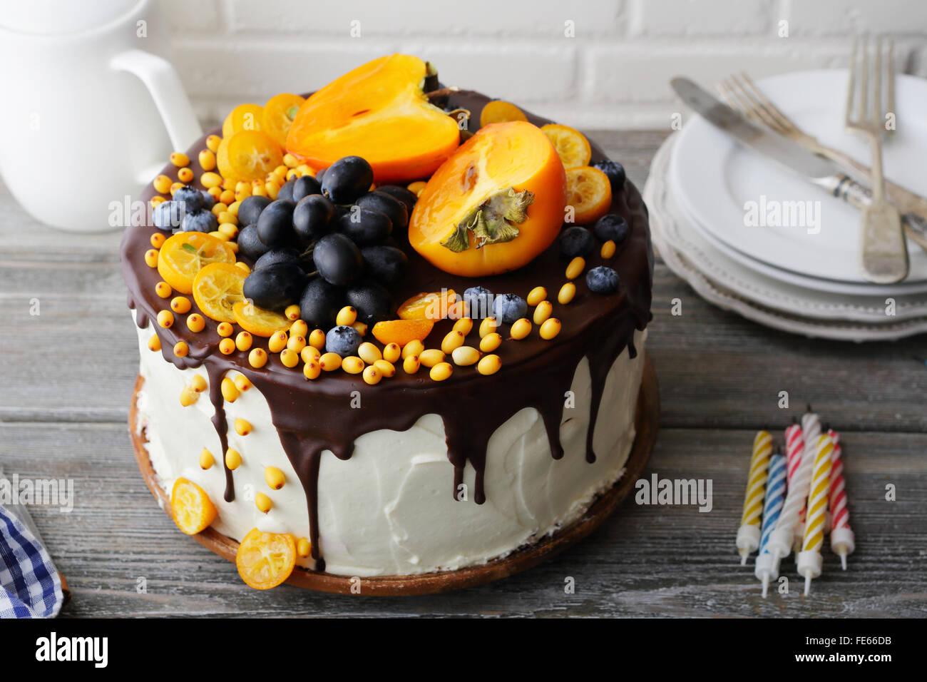 cake with fruits decorations, food closeup - Stock Image
