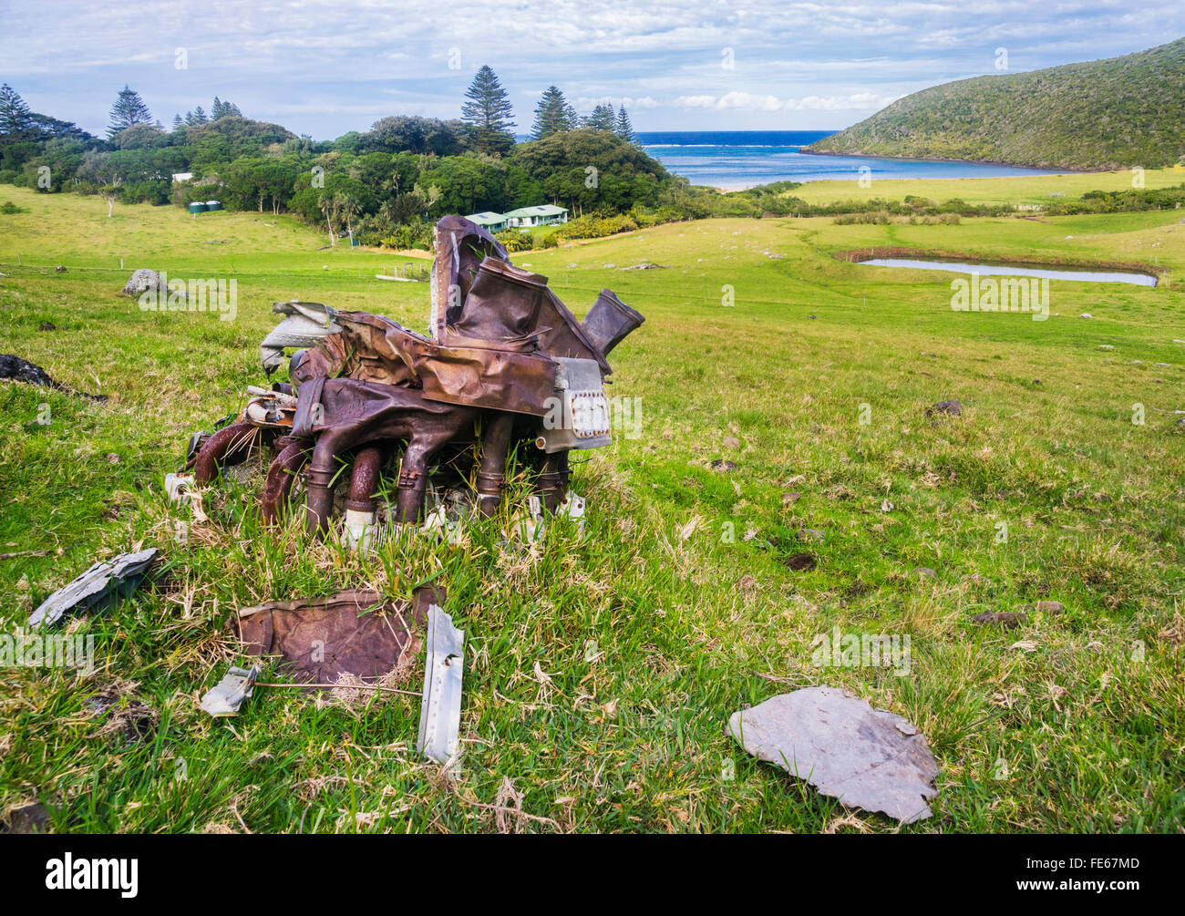 Lord Howe Island in the Tasman Sea, Australia. Debris from a RAAF Catalina Flying Boat A24-381, which crashed on - Stock Image