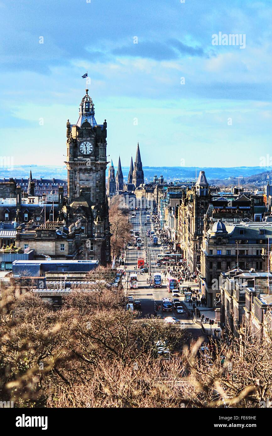 Princes Street Against Sky - Stock Image