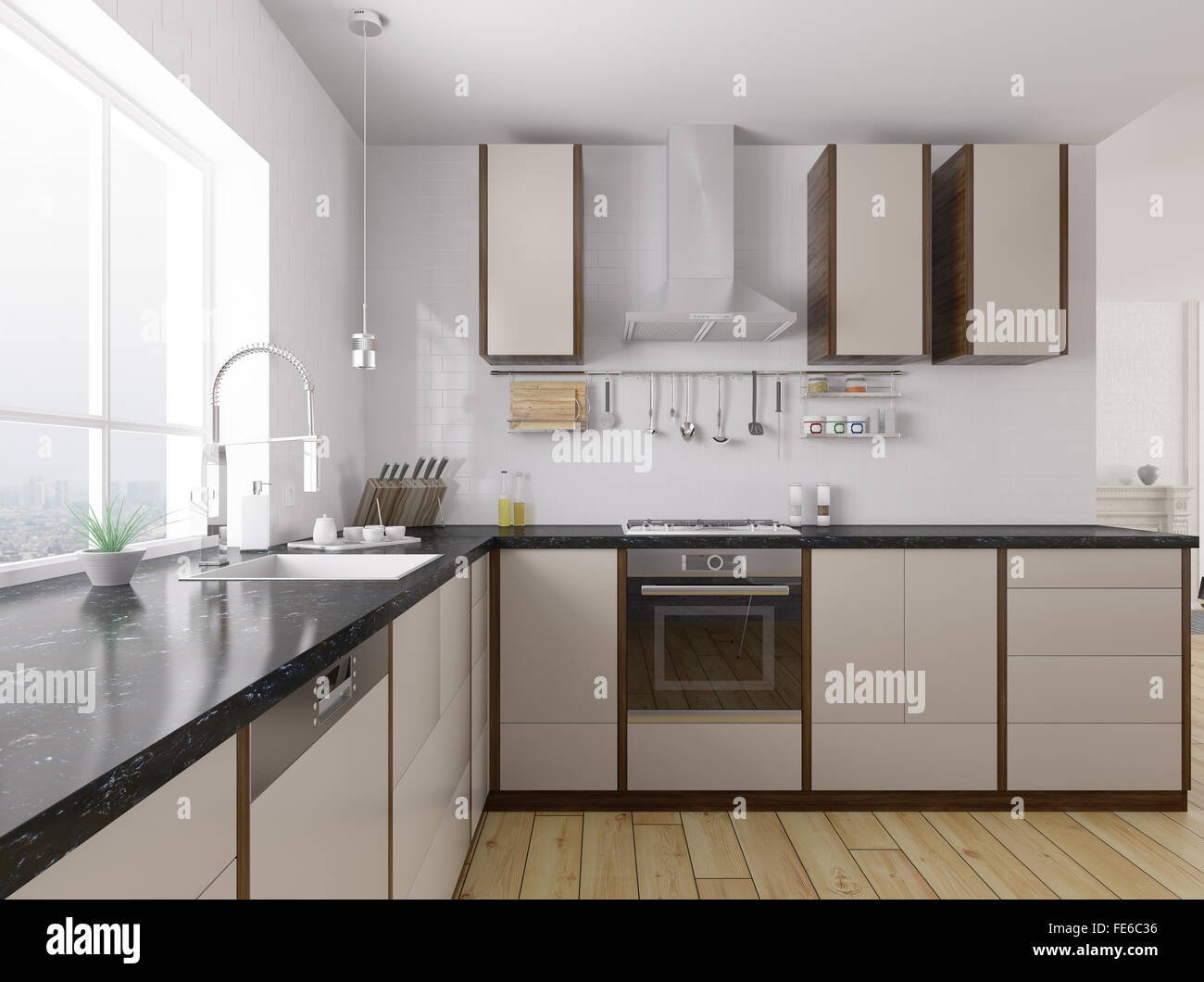 Modern Kitchen With Black Granite Counter Interior 3d Rendering Stock Photo Alamy