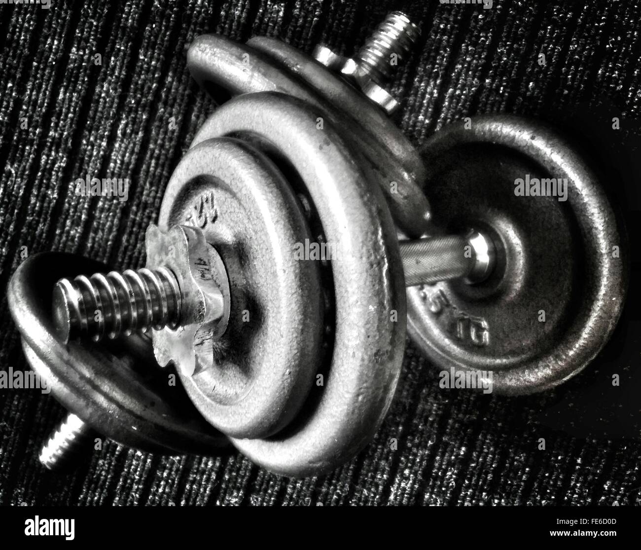 Close-Up Of Pair Of Dumbbells - Stock Image