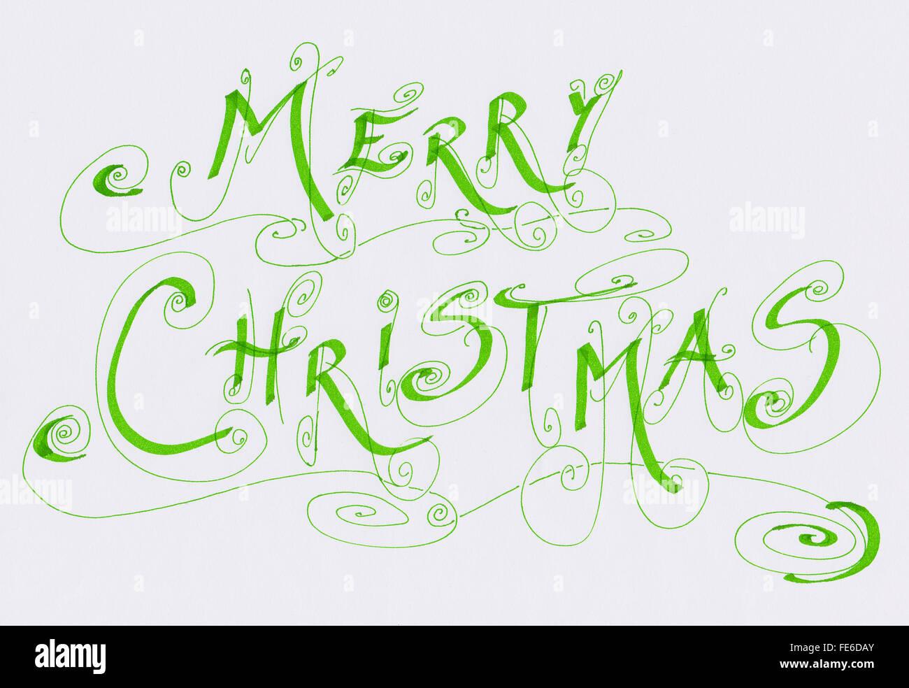 Merry Christmas Writing.Merry Christmas Calligraphic Writing Stock Photo 94799235