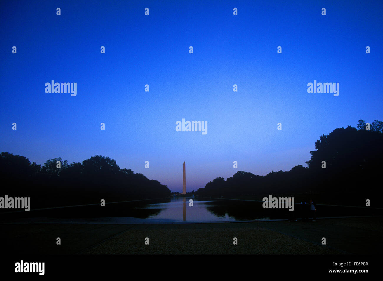 Distant View Of Washington Monument Against Clear Sky At Dusk - Stock Image