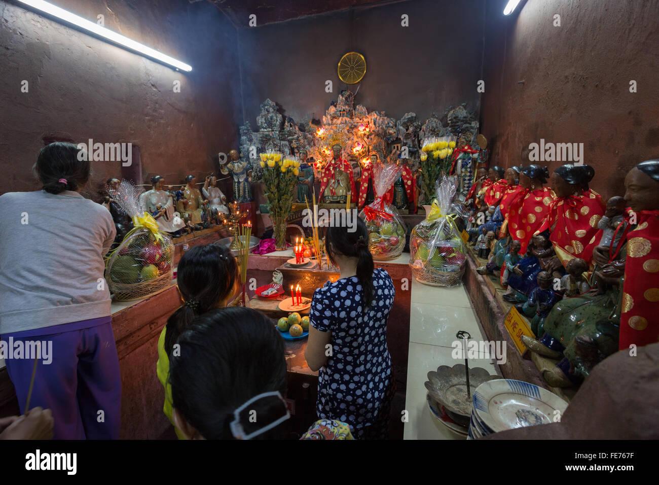SAIGON, VIETNAM - JANUARY 27, 2014: Altar in Emperor Jade Stock Photo