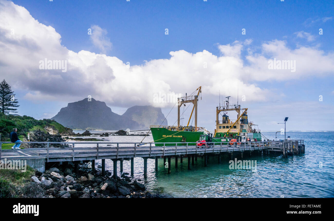 Lord Howe Island in the Tasman Sea, Freight ship MV Island Trader unloading cargo at Lord Howe Island Wharf - Stock Image