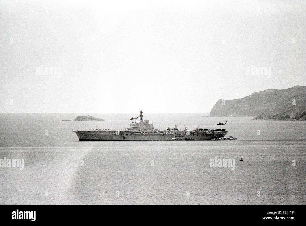 HMS Bulwark and helicopters off Aden Yemen 1967 - Stock Image